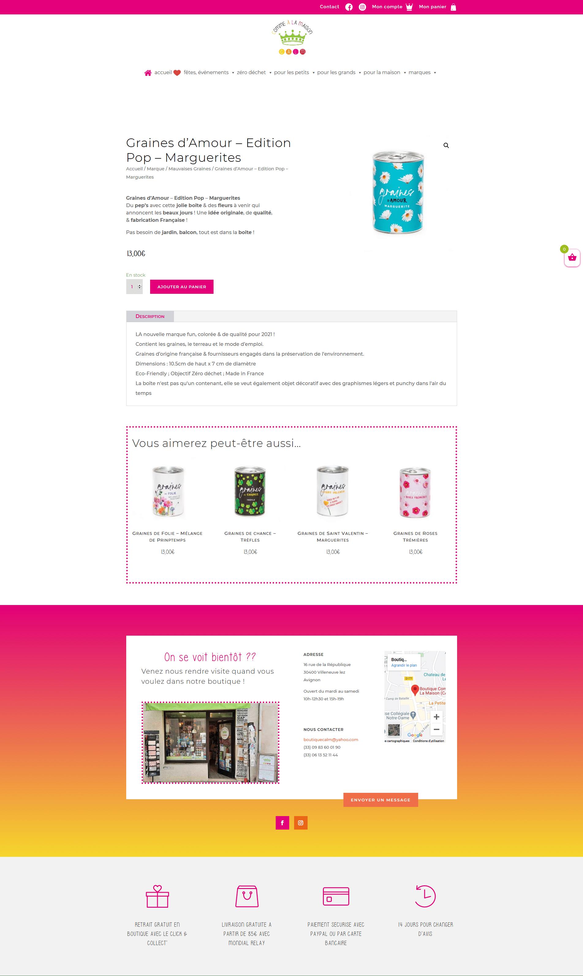 page produit site e-commerce boutique